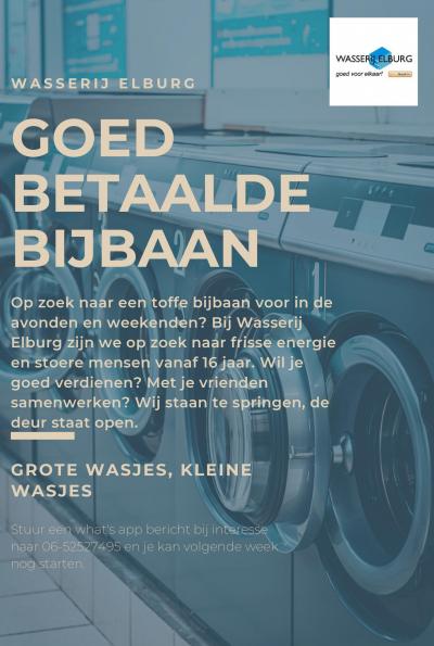 Goed betaalde bijbaan - Wasserij Elburg